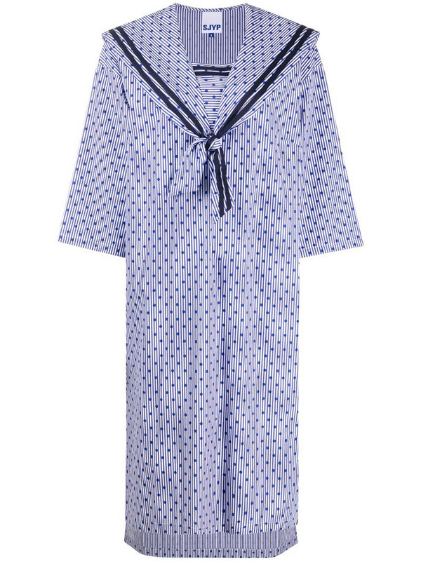 SJYP polka-dot sailor dress in blue