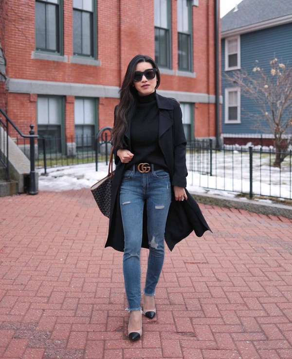 sweater turtleneck sweater black sweater high waisted jeans skinny jeans ripped jeans cropped jeans gucci belt pumps trench coat black coat black bag