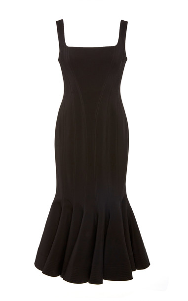 Acler Mawson Square-Neck Stretch-Knit Midi Dress Size: 2 in black