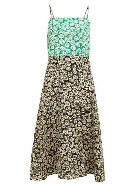 Hvn - Nora Floral Print Silk Dress - Womens - Black Multi