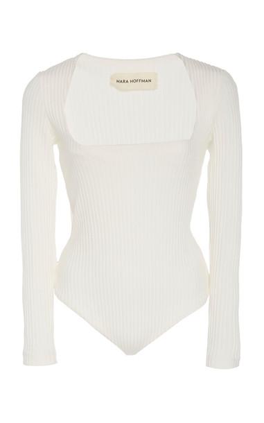 Mara Hoffman Venus Rib-Knit Bodysuit Size: S in white
