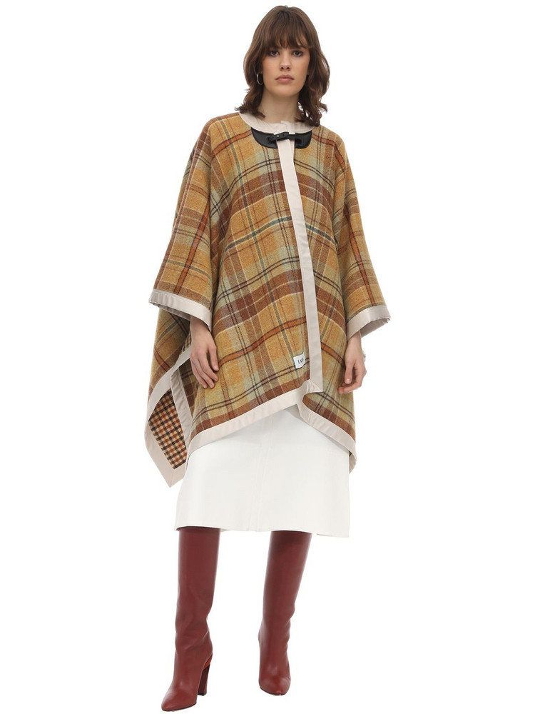 LANVIN Woven Checked Wool Cape in brown / beige