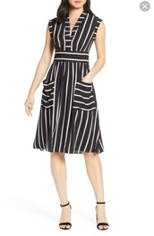 dress,sleeveless white black  vertical stripes