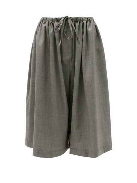 Loewe - Drawstring Wool Culotte Trousers - Womens - Grey