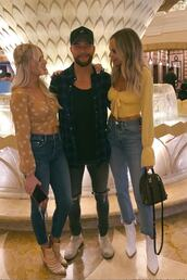 top,yellow,yellow top,crop tops,jeans,lauren bushnell,celebrity,instagram