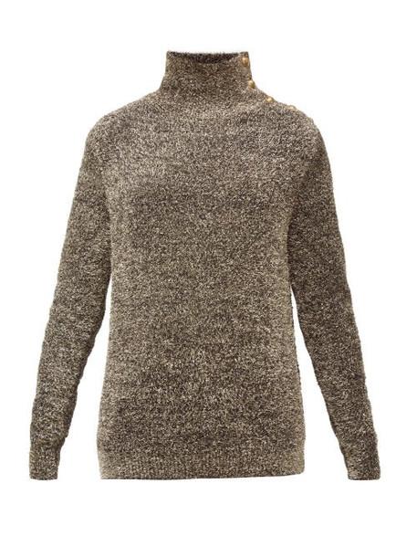 Balmain - Buttoned-shoulder Metallic Sweater - Womens - Silver