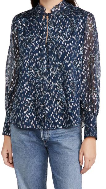 Jonathan Simkhai Monroe Long Sleeve Ruffle Blouse in blue