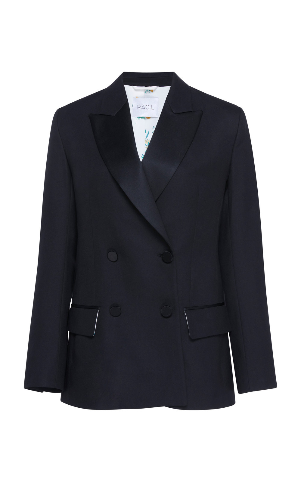 Racil Winston Double Breasted Wool Blazer in black