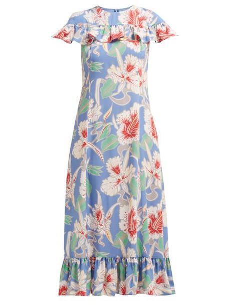 Valentino - Hibiscus Print Ruffle Trimmed Crepe Midi Dress - Womens - Blue Multi