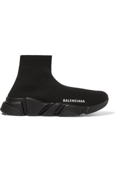 Balenciaga - Speed Logo-print Stretch-knit High-top Sneakers - Black