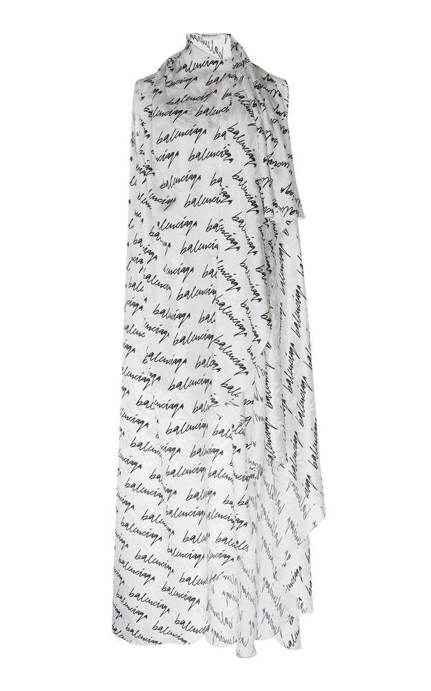 Balenciaga Stola Printed Draped Silk Maxi Dress in white