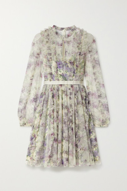 Needle & Thread - Lilacs Garland Satin-trimmed Ruffled Floral-print Tulle Mini Dress - Ivory