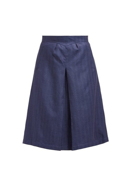 Giuliva Heritage Collection - The Ginestra Cashmere Blend Herringbone Skirt - Womens - Navy