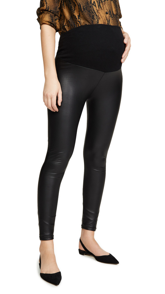 Plush Liquid Double Layer Over-Belly Leggings in black