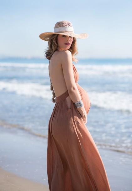 ms treinta blogger dress straw hat backless dress beige dress maxi dress maternity dress