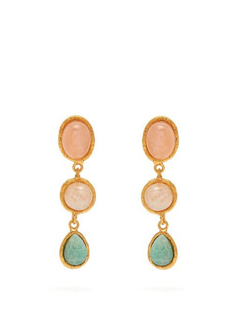 Sylvia Toledano - Three Stone Quartz, Moonstone & Amazonite Earrings - Womens - Multi