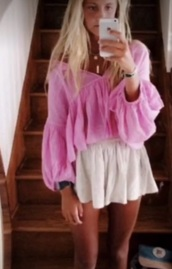 blouse,free people,pink,boho,summer outfits,summer top