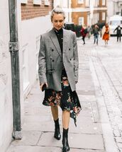 dress,turtleneck dress,asymmetrical dress,floral dress,blazer,double breasted,black boots