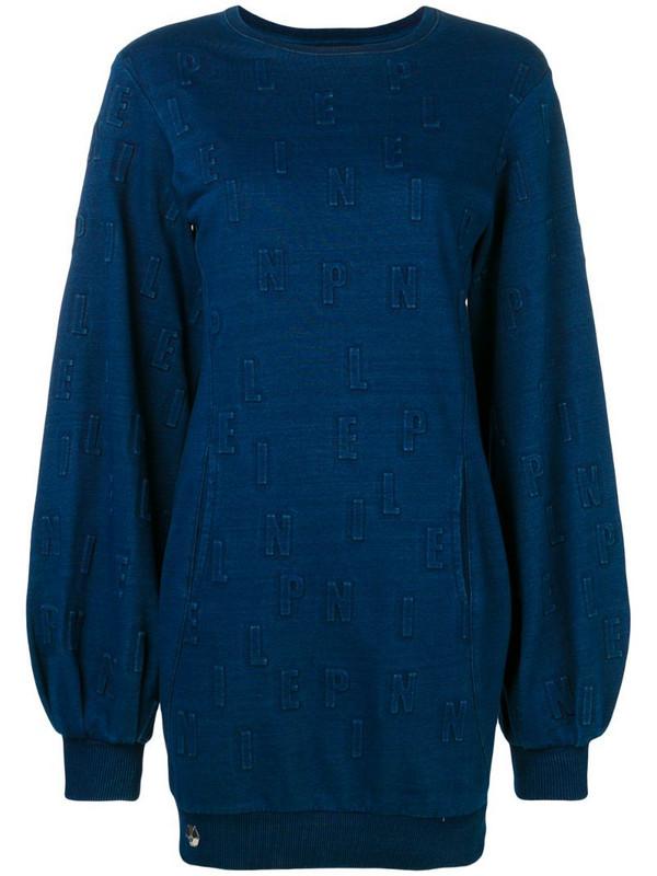Philipp Plein long logo sweatshirt in blue