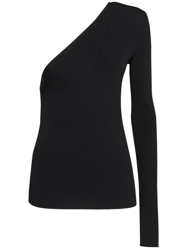 SPORTMAX Papaille Ribbed One Shoulder Sweater in black