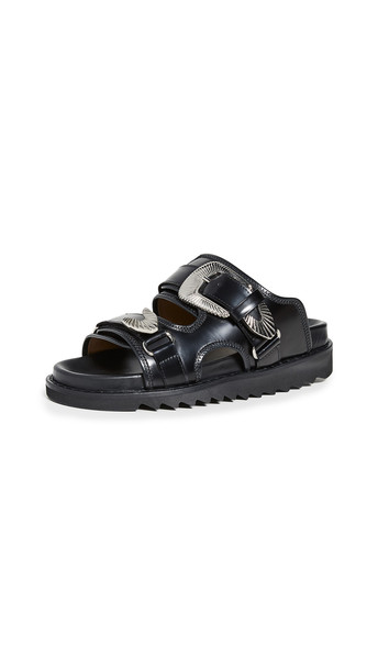 Toga Pulla Two Band Buckle Slides in black