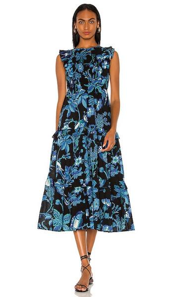 Banjanan Iris Dress in Blue in black