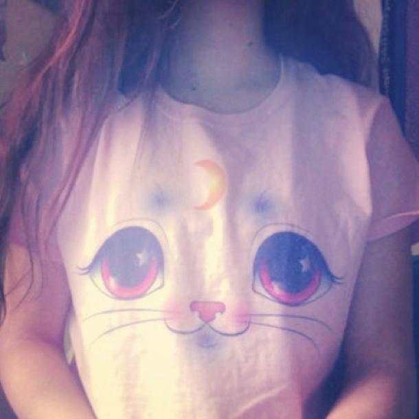 t-shirt cats moon pink