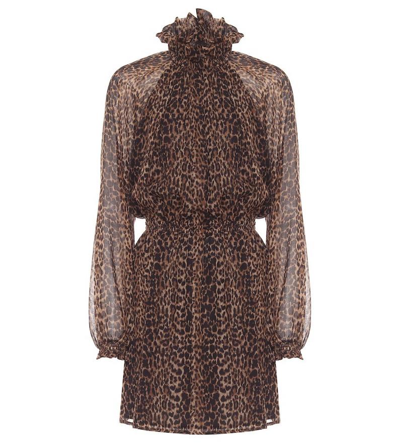 Saint Laurent Leopard-print wool minidress in brown