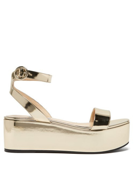 Prada - Platform Metallic Leather Sandals - Womens - Gold