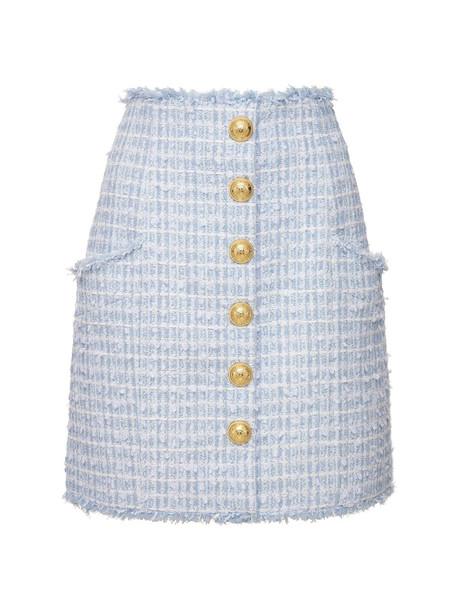 BALMAIN High Waist Cotton Blend Tweed Mini Skirt in blue / white