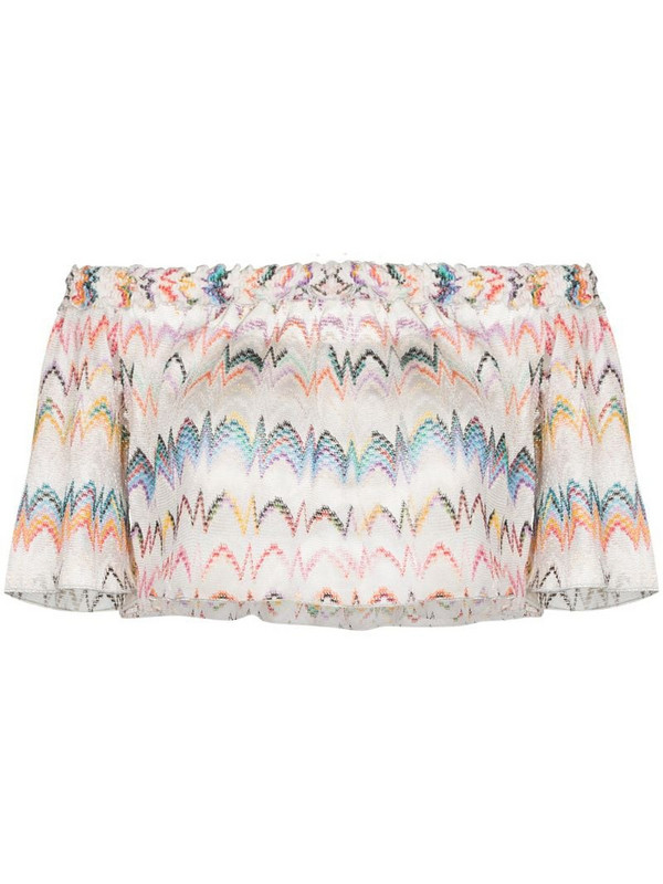 Missoni Mare off-shoulder zigzag embroidered blouse in white