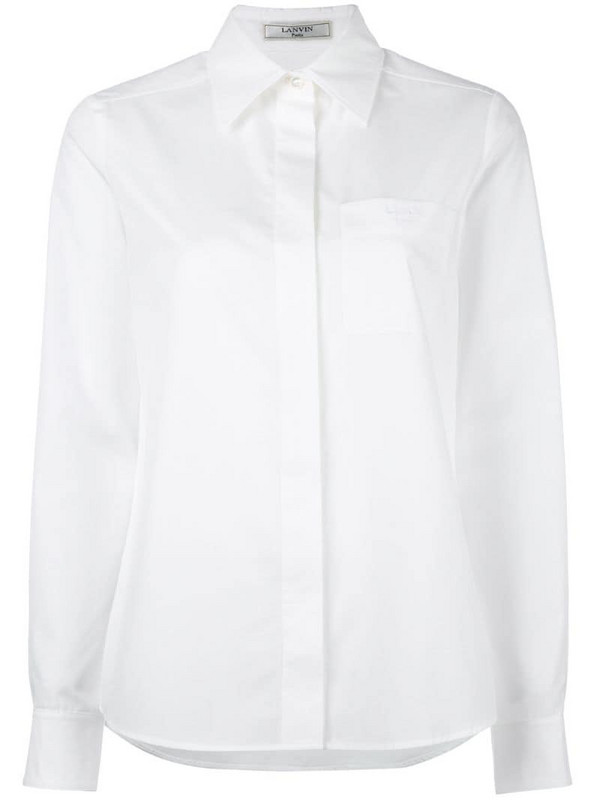 LANVIN patch pocket shirt in white