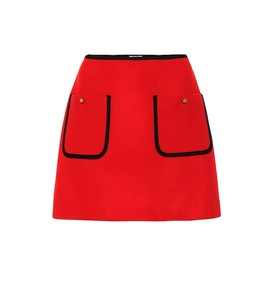 Miu Miu Wool miniskirt in red