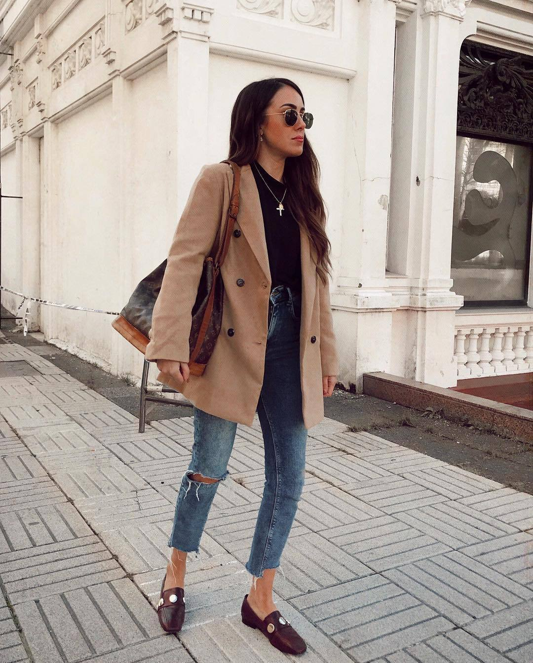 coat camel coat double breasted flats cropped jeans ripped jeans louis vuitton bag shoulder bag black top