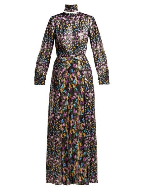 Raquel Diniz - Olivia Floral Print Silk Dress - Womens - Black Multi