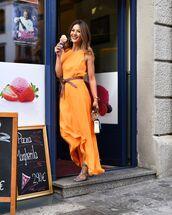 dress,maxi dress,orange dress,sandal heels,belt,bag