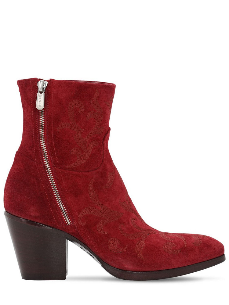 ROCCO P. 70mm Embroidered Suede Ankle Boots in red