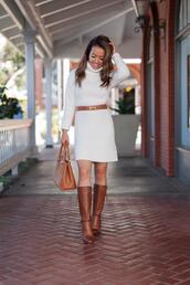 stylish petite,blogger,dress,sweater,shoes,belt,bag,sweater dress,knitted dress,knee high boots,handbag,winter outfits