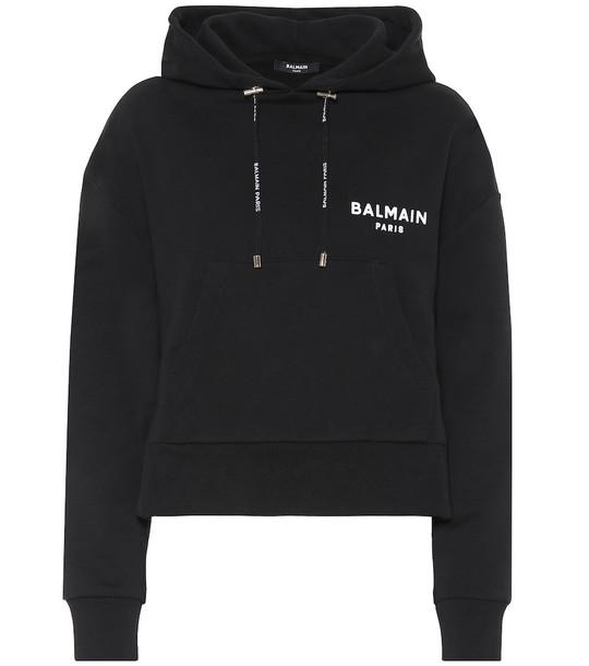 Balmain Cropped cotton hoodie in black