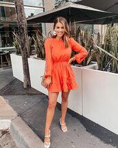 dress,mini dress,long sleeve dress,open back,sandal heels,white sandals,bag