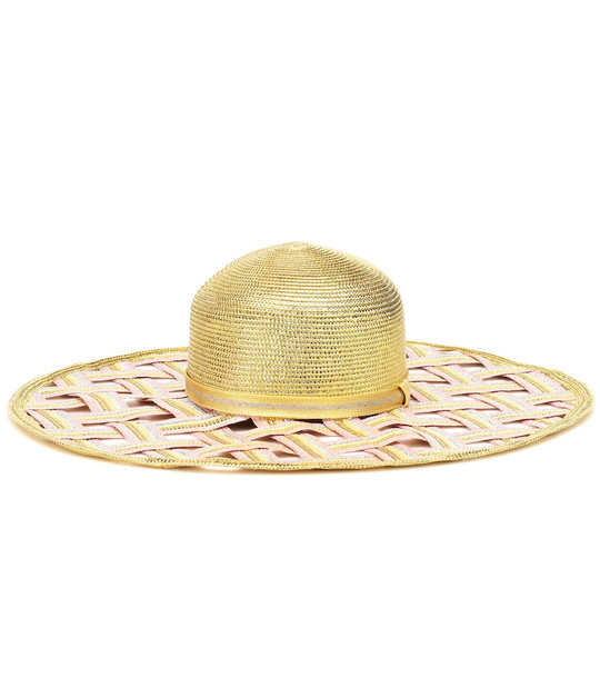 Missoni Mare Woven metallic wide-brimmed hat in gold