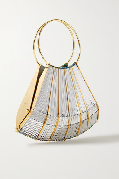 Vanina - Le Vol Au Vent Gold-plated And Woven Tote - Silver
