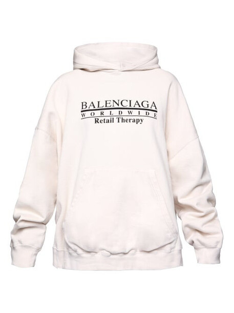 Balenciaga - Oversized Logo-print Cotton Hooded Sweatshirt - Womens - White