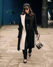 jeans,high waisted jeans,black jeans,pumps,black bag,black coat,long coat,black turtleneck top,black sunglasses,beret