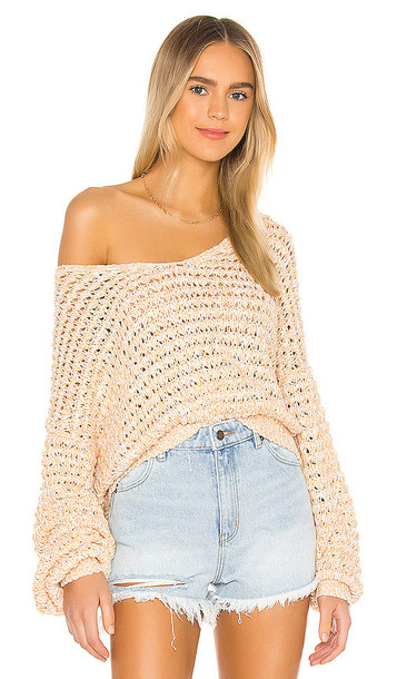 Free People Coconut V Neck Sweater in Peach