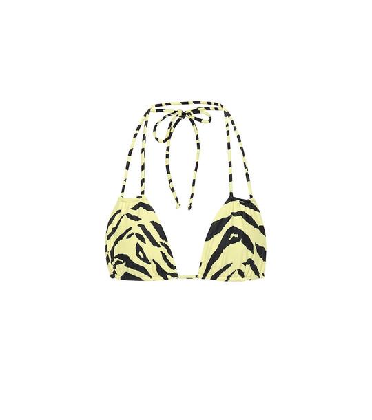 Saint Laurent Zebra-print bikini top in yellow