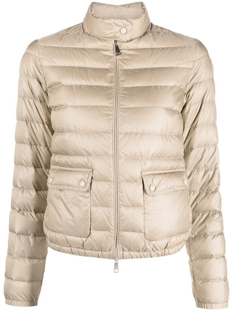 Moncler logo-patch zip-up padded jacket in neutrals