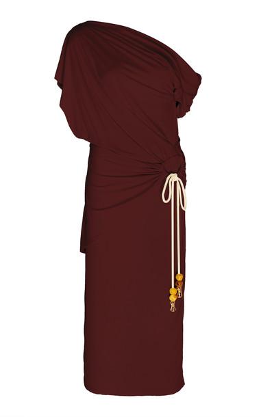Acler Karline Tassel Stretch-Knit Midi Dress Size: 2 in burgundy
