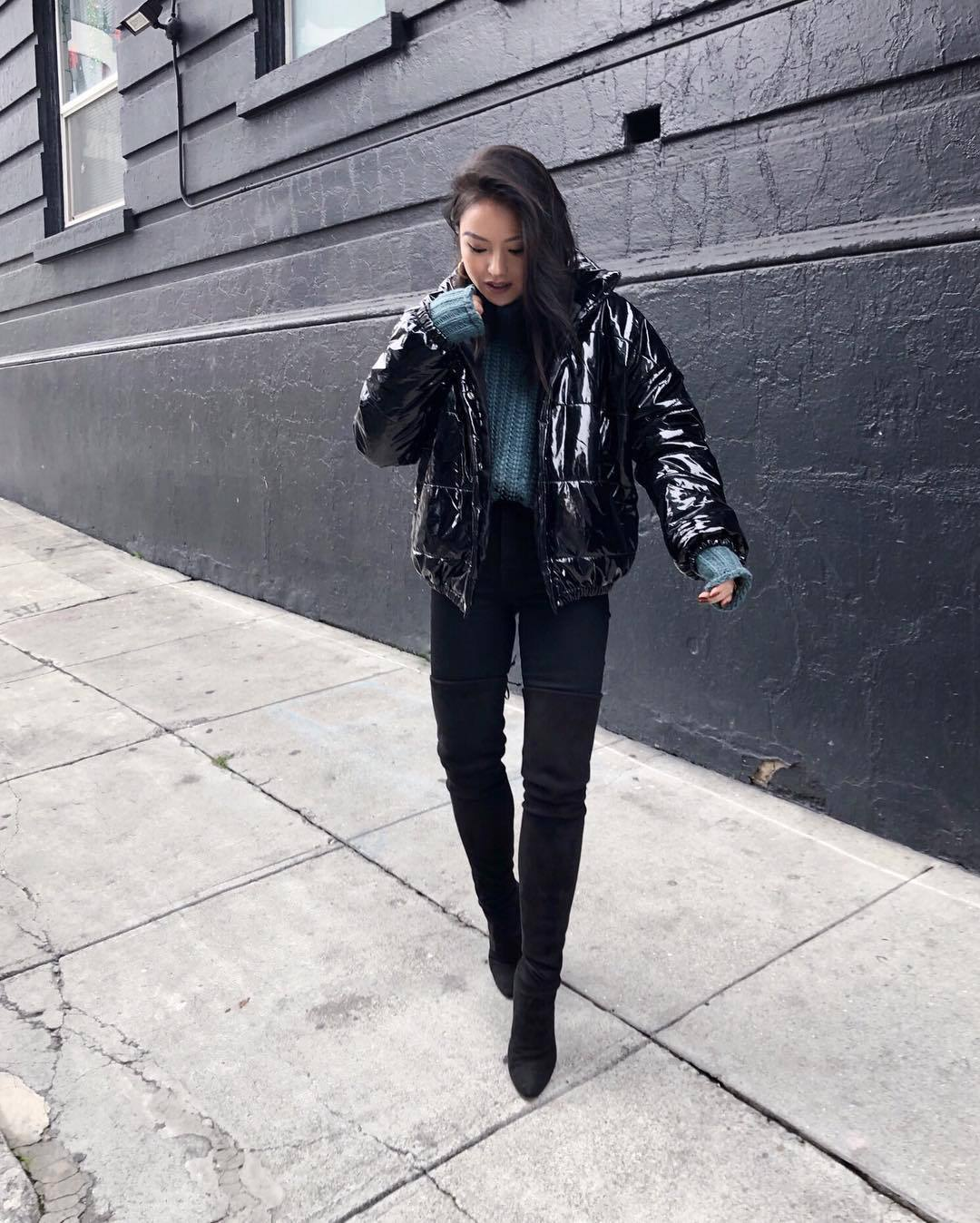 jacket puffer jacket black jacket over the knee boots black boots heel boots black skinny jeans chunky knit blue sweater