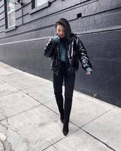 jacket,puffer jacket,black jacket,over the knee boots,black boots,heel boots,black skinny jeans,chunky knit,blue sweater